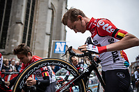 Tim Wellens (BEL/Lotto-Soudal) checking the brakes at the start in Leuven<br /> <br /> 58th Brabantse Pijl 2018 (BEL)