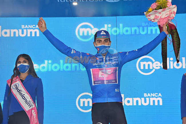 Ruben Guerreiro (POR) EF Pro Cycling wins Stage 9 and also takes over the mountains Maglia Azzurra of the 103rd edition of the Giro d'Italia 2020 running 208km from San Salvo to Roccaraso (Aremogna), Sicily, Italy. 11th October 2020.  <br /> Picture: LaPresse/Gian Mattia D'Alberto | Cyclefile<br /> <br /> All photos usage must carry mandatory copyright credit (© Cyclefile | LaPresse/Gian Mattia D'Alberto)