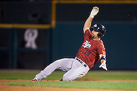 Lehigh Valley IronPigs designated hitter Russ Canzler (19) slides into second on a double during a game against the Rochester Red Wings on July 4, 2015 at Frontier Field in Rochester, New York.  Lehigh Valley defeated Rochester 4-3.  (Mike Janes/Four Seam Images)
