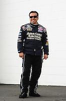 Feb. 11, 2012; Pomona, CA, USA; NHRA funny car driver Tony Pedregon during qualifying for the Winternationals at Auto Club Raceway at Pomona. Mandatory Credit: Mark J. Rebilas-