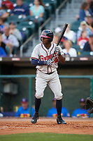 Gwinnett Braves center fielder Xavier Avery (7) squares to bunt during a game against the Buffalo Bisons on August 19, 2017 at Coca-Cola Field in Buffalo, New York.  Gwinnett defeated Buffalo 1-0.  (Mike Janes/Four Seam Images)