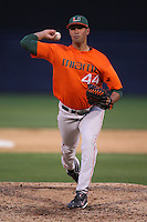 March 2, 2010:  Pitcher E.J. Encinosa of the Miami Hurricanes during a game at Legends Field in Tampa, FL.  Photo By Mike Janes/Four Seam Images