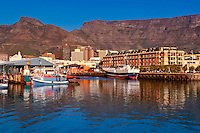 Victoria and Alfred Waterfront in Capetown, South Africa. Table Mountain serves as  a dramatic background for this beautiful city.