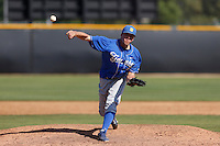 Dylan Hecht #4 of the UC Santa Barbara Gauchos pitches against the Cal State Northridge Matadors at Matador Field on May 11, 2013 in Northridge, California. UC Santa Barbara defeated Cal State Northridge, 6-2. (Larry Goren/Four Seam Images)