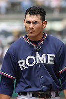 Ramon Flores  of the Rome Braves during a game against the Charleston RiverDogs on April 27, 2010  in Charleston, SC.