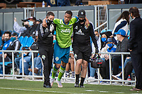 SAN JOSE, CA - MAY 12: Jordy Delem #8 of the Seattle Sounders is assisted off the field during a game between San Jose Earthquakes and Seattle Sounders FC at PayPal Park on May 12, 2021 in San Jose, California.