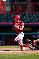 Harrisburg Senators Cole Freeman (28) bats during a game against the Erie Seawolves on September 5, 2021 at UPMC Park in Erie, Pennsylvania.  (Mike Janes/Four Seam Images)