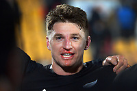 NZ's Beauden Barrett talks to the team after the Steinlager Series rugby match between the New Zealand All Blacks and Tonga at Mt Smart Stadium in Auckland, New Zealand on Saturday, 3 July 2021. Photo: Dave Lintott / lintottphoto.co.nz