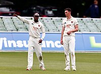 Kent captain Daniel Bell-Drummond (L) in discussion with Nathan Gilchrist during Kent CCC vs Northamptonshire CCC, LV Insurance County Championship Group 3 Cricket at The Spitfire Ground on 6th June 2021