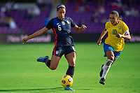 ORLANDO CITY, FL - FEBRUARY 21: Lynn Williams #6 of the USWNT kicks the ball during a game between Brazil and USWNT at Exploria Stadium on February 21, 2021 in Orlando City, Florida.