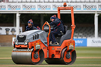 The pitch is rolled between innings during Essex CCC vs Durham CCC, LV Insurance County Championship Group 1 Cricket at The Cloudfm County Ground on 15th April 2021
