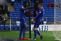 Bruno Ecuele Manga of Cardiff City celebrates his sides second goal of the match with goalscorer Danny Ward of Cardiff City during the Sky Bet Championship match between Cardiff City and Brentford at the Cardiff City Stadium, Wales, UK. Saturday 18 November 2017