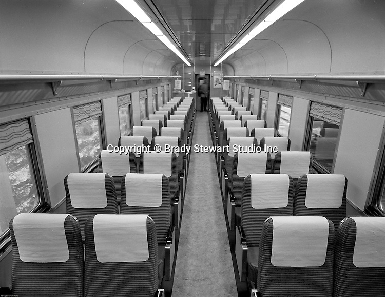 Pittsburgh PA - View of the inside of the new railroad passenger cars.