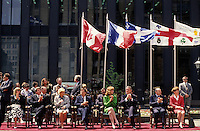 May 1992 File Photo - Montreal (Qc) CANADA - Ceremonies of Montreal 350th anniversary at Place d'armes  : Jean Dore, Mayor of Montreal , Robert Bourassa, Quebec Premier,Brian Mulroney, Prime Minister of canada and Michel Dupuis, with their wifes
