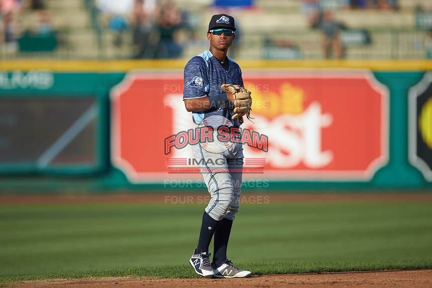 West Michigan Whitecaps shortstop Wenceel Perez (27) on defense against the Fort Wayne TinCaps at Parkview Field on August 5, 2019 in Fort Wayne, Indiana. The TinCaps defeated the Whitecaps 9-3. (Brian Westerholt/Four Seam Images)