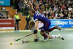 GER - Muelheim an der Ruhr, Germany, February 05: During the FinalFour final men hockey match between Rot-Weiss Koeln (whize) and Mannheimer HC (blue) on February 5, 2017 at innogy Sporthalle in Muelheim an der Ruhr, Germany. (Photo by Dirk Markgraf / www.265-images.com) *** Local caption *** Jan-Philipp Fischer #23 of Mannheimer HC