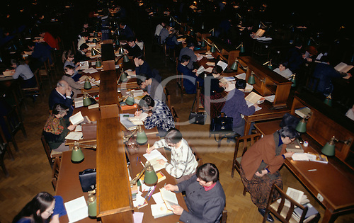 Moscow, Russia. Rows of people working and reading; Moscow State Library.