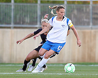 Lori Lindsey #6 of the Washington Freedom shadows Kristine Lilly #13 of the Boston Breakers during a WPS match at the Maryland Soccerplex, in Boyd's, Maryland, on April 18 2009. Breakers won the match 3-1.
