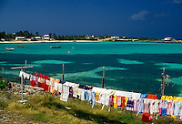 AJ2399, Anguilla, Caribbean, Caribbean Islands, Laundry day near the beach on Island Harbor on the island of Anguilla (a british territory).