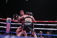 Boxers Seniesa Estrada, USA and Marlen Esparza, USA, fight during their NABF & NABO Super Bantamweight titles bout at the MGM Grand Garden on November 2, 2019 in Las Vegas, Nevada. Estrada won a technical unanimous decision.  Referee was Robert Byrd. (Photo John Gurzinski/lasvegasphotography.com)