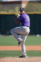 Colorado Rockies relief pitcher Salvador Justo (92) during a Minor League Spring Training game against the Milwaukee Brewers at Salt River Fields at Talking Stick on March 17, 2018 in Scottsdale, Arizona. (Zachary Lucy/Four Seam Images)