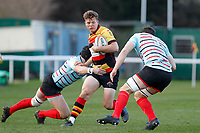 Morgan Ward of Richmond Rugby is tackled during the English National League match between Richmond and Blackheath  at Richmond Athletic Ground, Richmond, United Kingdom on 4 January 2020. Photo by Carlton Myrie.