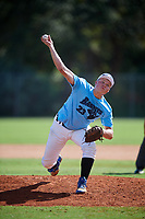 Zane Robbins during the WWBA World Championship at the Roger Dean Complex on October 19, 2018 in Jupiter, Florida.  Zane Robbins is a right handed pitcher from Benton, Pennsylvania who attends Millville Area High School and is committed to Hartford.  (Mike Janes/Four Seam Images)