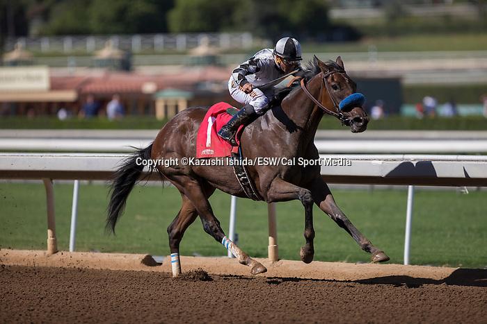 OCT 4,2014:Top Kisser,ridden by Elvis Trujillo,wins LA Woman Stakes Santa Anita Sprint Championship at Santa Anita Park in Arcadia,CA. Kazushi Ishida/ESW/CSM