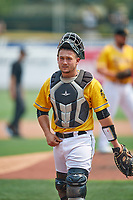 Matt Thaiss (6) of the Salt Lake Bees on defense against the Las Vegas Aviators at Smith's Ballpark on July 25, 2021 in Salt Lake City, Utah. The Aviators defeated the Bees 10-6. (Stephen Smith/Four Seam Images)