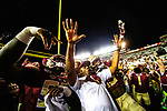 Florida State Seminoles head coach Willie Taggart and his players celebrate the 31-13 defeat of North Carolina State in an NCAA college football game in Tallahassee, Fla., Saturday, Sept. 28, 2019.  (AP Photo/Mark Wallheiser)