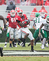 The Georgia Bulldogs played North Texas Mean Green at Sanford Stadium.  After North Texas tied the game at 21 early in the second half, the Georgia Bulldogs went on to score 24 unanswered points to win 45-21.  Georgia Bulldogs wide receiver Reggie Davis (81)