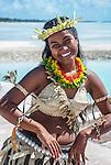i-Kiribati in traditional costume. Tarawa, Kiribati