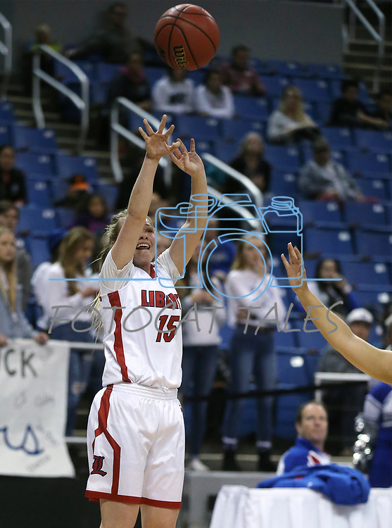 Liberty's London Pavlica shoots against McQueen during the NIAA state basketball tournament in Reno, Nev., on Thursday, Feb. 22, 2018. Liberty defeated McQueen 71-33. Cathleen Allison/Las Vegas Review-Journal