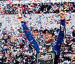 Jimmie Johnson celebrates winning the 55th Daytona 500 in his #48 Lowe's Chevrolet at Daytona International Speedway in Daytona Beach, Florida February 24, 2013.