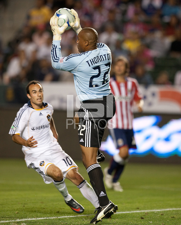 Zach Thornton makes the save. The LA Galaxy defeated Chivas USA 1-0 at Home Depot Center stadium in Carson, California Saturday evening July 11, 2009.