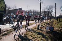 Tiesj Benoot (BEL/Lotto-Soudal) avoiding the Varent cobbles<br /> <br /> 70th Kuurne-Brussel-Kuurne 2018<br /> Kuurne › Kuurne: 200km (BELGIUM)