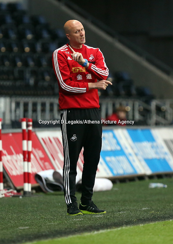 Thursday, 16 April 2014<br /> Pictured: Swansea manager Cameron Toshack<br /> Re: FAW Youth Cup Final, Swansea City FC v The New Saints FC at the Liberty Stadium, south Wales,