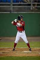 Potomac Nationals Cole Freeman (2) at bat during a Carolina League game against the Myrtle Beach Pelicans on August 14, 2019 at Northwest Federal Field at Pfitzner Stadium in Woodbridge, Virginia.  Potomac defeated Myrtle Beach 7-0.  (Mike Janes/Four Seam Images)