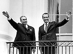 Leonid Brezhnev General Secretary of the Communist Party of the Soviet Union wave from the White House with President Richard Nixon,  President Nixon welcomes Leonid Brezhev to Washington with view to resolving the issue of nuclear weapons limitations June 18, 1973,