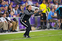 Orlando, FL - Saturday March 24, 2018: Utah Royals head coach Laura Harvey reacts to a call during a regular season National Women's Soccer League (NWSL) match between the Orlando Pride and the Utah Royals FC at Orlando City Stadium. The game ended in a 1-1 draw.