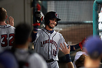 Lancaster JetHawks center fielder Manuel Melendez (19) is congratulated by teammates after scoring a run during a California League game against the Inland Empire 66ers at San Manuel Stadium on May 18, 2018 in San Bernardino, California. Lancaster defeated Inland Empire 5-3. (Zachary Lucy/Four Seam Images)