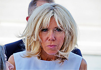 Pictured: Brigitte Macron at the Acropolis in Athens, Greece. Thurday 07 September 2017<br /> Re: Brigitte Macron, the wife of French President Emmanuel Macron, was given a tour of the Acropolis by Betty (Peristera) Baziana, the wife of Greek Prime Minister ALexis Tsipras during their state visit to Athens, Greece.