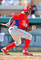 9 March 2012: Philadelphia Phillies outfielder Juan Pierre in action during a Spring Training game against the Detroit Tigers at Joker Marchant Stadium in Lakeland, Florida. The Phillies defeated the Tigers 7-5 in Grapefruit League action. Mandatory Credit: Ed Wolfstein Photo