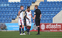 Bolton Wanderers' Brandon Comley appeals to the referee before being shown a yellow card<br /> <br /> Photographer Rob Newell/CameraSport<br /> <br /> The EFL Sky Bet League Two - Colchester United v Bolton Wanderers - Saturday 19th September 2020 - Colchester Community Stadium - Colchester<br /> <br /> World Copyright © 2020 CameraSport. All rights reserved. 43 Linden Ave. Countesthorpe. Leicester. England. LE8 5PG - Tel: +44 (0) 116 277 4147 - admin@camerasport.com - www.camerasport.com