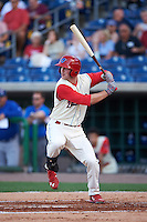 Clearwater Threshers left fielder Cord Sandberg (35) at bat during a game against the Dunedin Blue Jays on April 8, 2016 at Bright House Field in Clearwater, Florida.  Dunedin defeated Clearwater 8-3.  (Mike Janes/Four Seam Images)