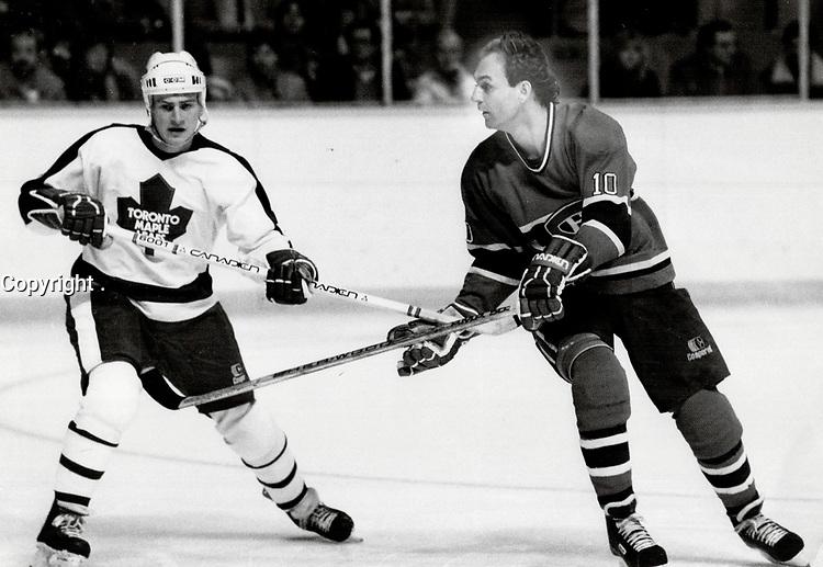 1984 FILE PHOTO - ARCHIVES -<br /> <br /> Lafleur, Guy et les Canadiens contre les Maple Leafs<br /> <br /> 1984<br /> <br /> PHOTO : John Mahler  - Toronto Star Archives - AQP