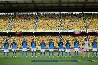 BARRANQUILLA – COLOMBIA, 10-10-2021: Jugadores de Brasil (BRA) posan para una foto antes del partido entre los seleccionados de Colombia (COL) y Brasil (BRA), de la fecha 12 por la clasificatoria a la Copa Mundo FIFA Catar 2022, jugado en el estadio Metropolitano Roberto Melendez en Barranquilla. / Players of Brasil (BRA) pose for a photo prior a match between the teams of Colombia (COL) and Brasil (BRA), of the 12th date for the FIFA World Cup Qatar 2022 Qualifier, played at Metropolitan stadium Roberto Melendez in Barranquilla. Photo: VizzorImage / Jairo Cassiani / Contribuidor