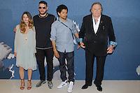 louise grinberg sadek rachid djaidani et gerard depardieu en photocall pour le film tour de france - film selectionne dans le cadre de la quinzaine des realisateurs au Festival de Cannes 2016 - theatre croisette a cannes le dimanche 15 mai 2016