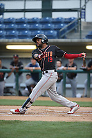 Gianfranco Wawoe (19) of the Modesto Nuts bats against the Rancho Cucamonga Quakes at LoanMart Field on August 1, 2017 in Rancho Cucamonga, California. Rancho Cucamonga defeated Modesto, 2-1. (Larry Goren/Four Seam Images)