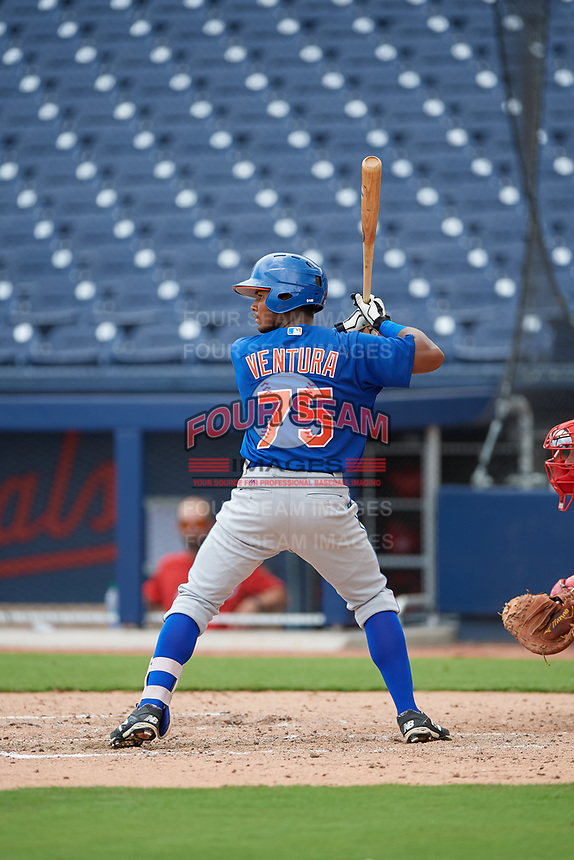 GCL Mets second baseman Pedro Ventura (75) at bat during the second game of a doubleheader against the GCL Nationals on July 22, 2017 at The Ballpark of the Palm Beaches in Palm Beach, Florida.  GCL Mets defeated the GCL Nationals 4-1.  (Mike Janes/Four Seam Images)